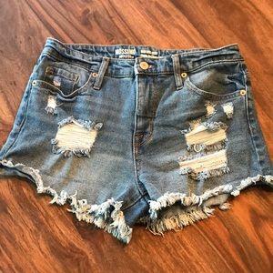 High rise distressed jean shorts denim